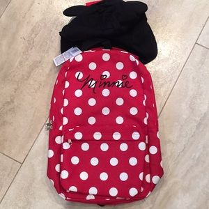 """Minnie Mouse backpack with removable """"hood."""""""